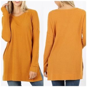 Oversized long sleeve top tunic waffle knit NWT